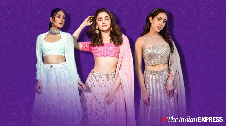 Manish malhotra designs, Manish malhotra designer lehengas, kareena kapoor latest photos, Alia bhatt latest photos, sara ali khan latest photos, celeb fashion, lehenga designs, indian express, lifestyle
