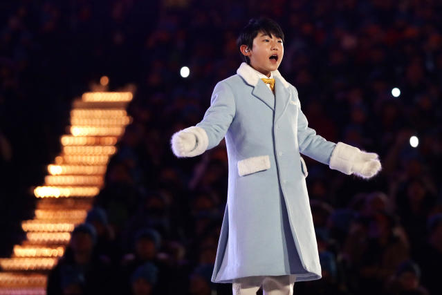 <p>OH Yeon-joon sings during the closing ceremony of the 2018 Winter Olympics in Pyeongchang, South Korea, Sunday, Feb. 25, 2018. (AP Photo/Kirsty Wigglesworth) </p>