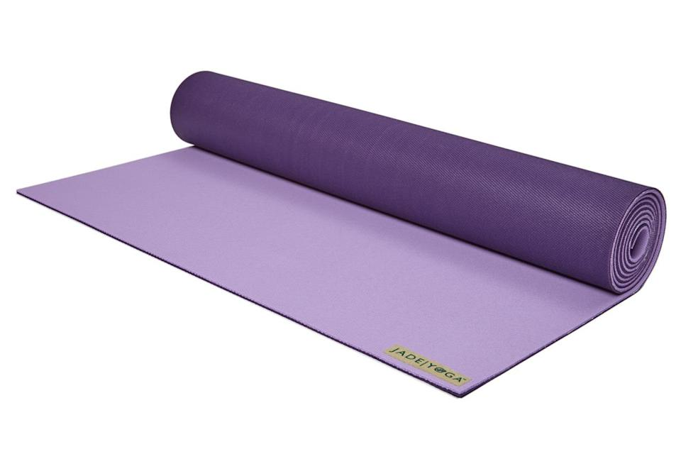 "<p>A comfortable, durable mat is a practice must-have — so why not replace your friend's old, beat-up version with a new one? It's thick, slip-resistant, and comes in gorgeous jewel colors.<br></p><p>$74.95 at <a href=""http://www.jadeyoga.com/collections/yoga-mats/products/harmony-mat"" rel=""nofollow noopener"" target=""_blank"" data-ylk=""slk:Jade Yoga"" class=""link rapid-noclick-resp"">Jade Yoga</a></p>"
