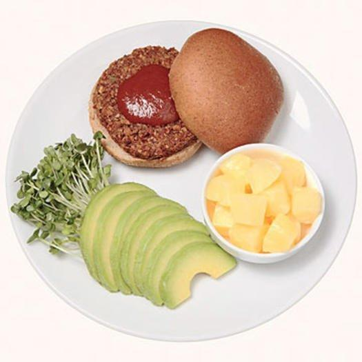 """<p>Take your meatless burger (<a href=""""https://www.shape.com/healthy-eating/meal-ideas/best-veggie-burger-meat-alternatives-grocery-stores"""" target=""""_blank"""">we've ranked all of your options here</a>!) on a trip south of the border with this better-than-fast-food 400-calorie lunch.</p> <p><strong>Ingredients </strong></p> <ul><li>1 vegetarian burger</li> <li>1 whole-wheat bun</li> <li>1 tablespoon barbecue sauce</li> <li>1/4 avocado, thinly sliced</li> <li>1/4 cup bean sprouts</li> <li>1/2 cup pineapple cubes</li> </ul><p><strong>Directions </strong></p> <ol><li>Cook burger in microwave according to package directions.</li> <li>Place on bun with barbecue sauce; top with avocado and sprouts.</li> <li>Serve with pineapple on the side.</li> </ol>"""