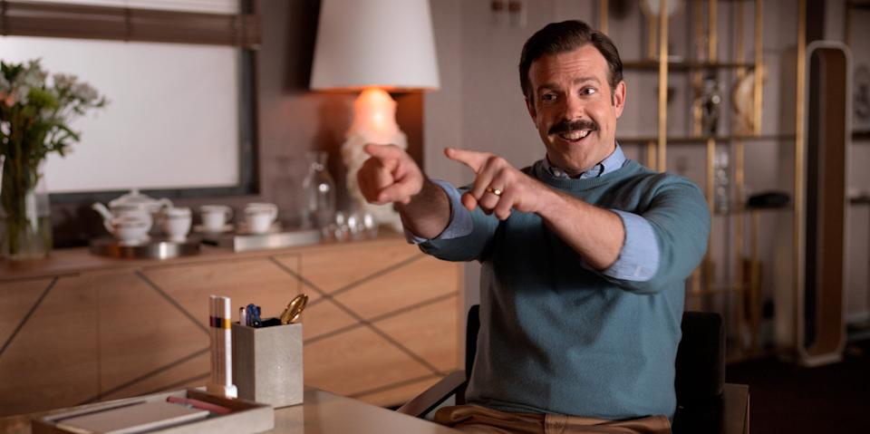 """Jason Sudeikis is an Emmy Award nominee for outstanding leading actor in a comedy series for the Apple TV show """"Ted Lasso."""""""