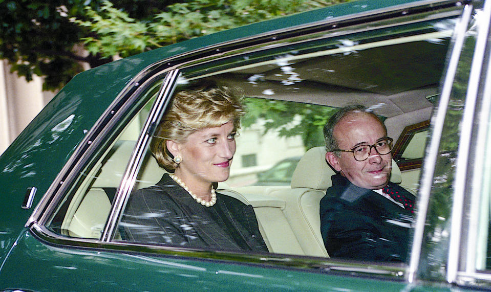 Lord Kerr, the British peer who wrote Article 50, with Princess Diana during his time as British ambassador to the US (Getty)