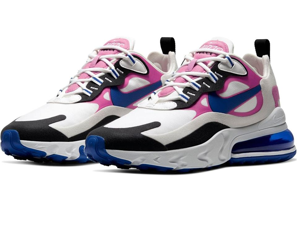 "<p><a href=""https://www.popsugar.com/buy/Nike-Air-Max-270-React-Sneakers-563805?p_name=Nike%20Air%20Max%20270%20React%20Sneakers&retailer=shop.nordstrom.com&pid=563805&price=113&evar1=fab%3Aus&evar9=44311634&evar98=https%3A%2F%2Fwww.popsugar.com%2Ffashion%2Fphoto-gallery%2F44311634%2Fimage%2F46920952%2FNike-Air-Max-270-React-Sneakers&list1=shopping%2Cshoes%2Csneakers%2Choliday%2Cgift%20guide%2Ceditors%20pick%2Cfashion%20gifts%2Cgifts%20for%20women&prop13=api&pdata=1"" class=""link rapid-noclick-resp"" rel=""nofollow noopener"" target=""_blank"" data-ylk=""slk:Nike Air Max 270 React Sneakers"">Nike Air Max 270 React Sneakers</a> ($113, originally $150)</p> <p>""When the temperature drops, my wardrobe tends to take a very monochromatic turn, and I'm always looking for ways to add a pop of color. These colorful and fun Air Max sneakers have colorful pops without being too overwhelming, and I have a feeling I'll be getting a lot of use out of them!"" - Perri Konecky, editor, Trending and Viral Features</p>"