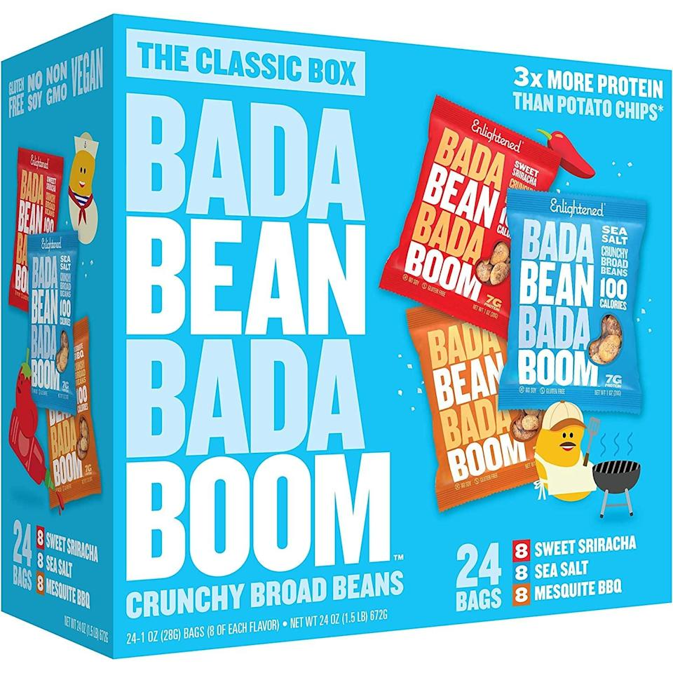 <p>If you love crunchy, salty snacks, these <span>Bada Bean Bada Boom Roasted Broad (Fava) Bean Snacks</span> ($20 for 24) are for you. They're perfectly bite sized, and the sriracha flavor is a personal favorite.</p>