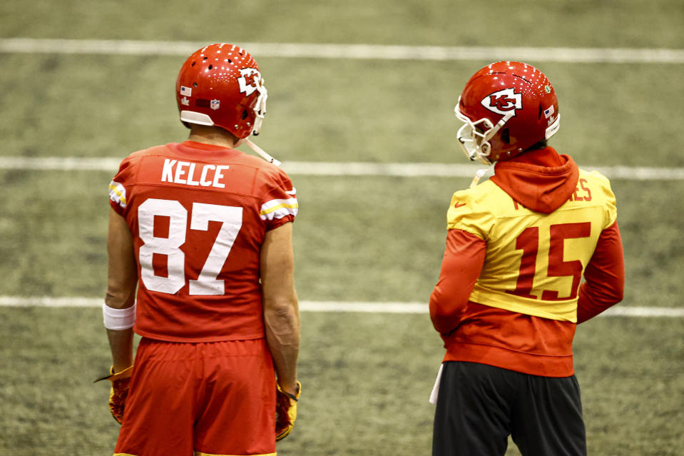 Travis Kelce (left) has plenty to gain from a second Super Bowl title on Sunday, but Patrick Mahomes has the most. (Steve Sanders/Kansas City Chiefs via AP)