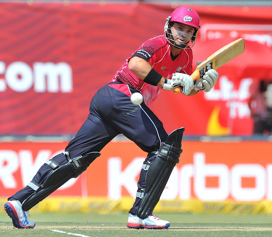 JOHANNESBURG, SOUTH AFRICA - OCTOBER 14:  Michael Lumb of Sixers in action during the Champions League Twenty20 match between Chennai Super Kings and Sydney Sixers at Bidvest Wanderers Stadium on October 14, 2012 in Johannesburg, South Africa. (Photo by Duif du Toit / Gallo Images/Getty Images)