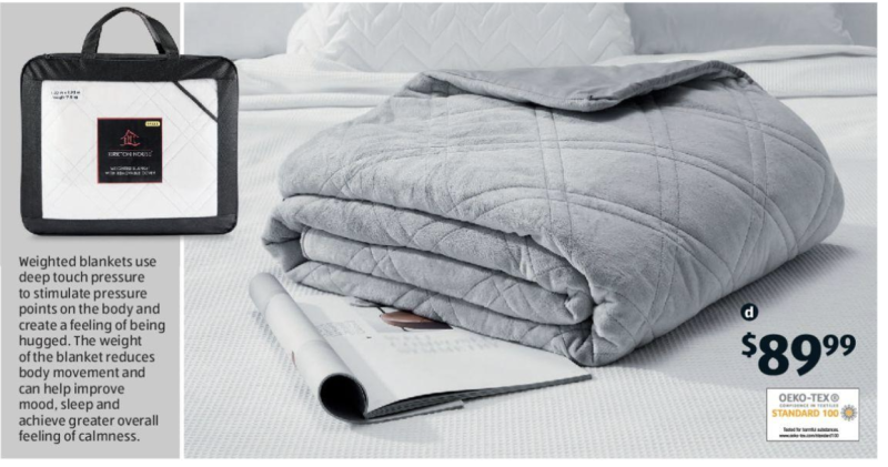 Aldi's weighted blanket catalogue