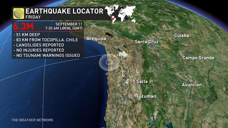 Landslides, power outages reported after M6.3 earthquake strikes Chile