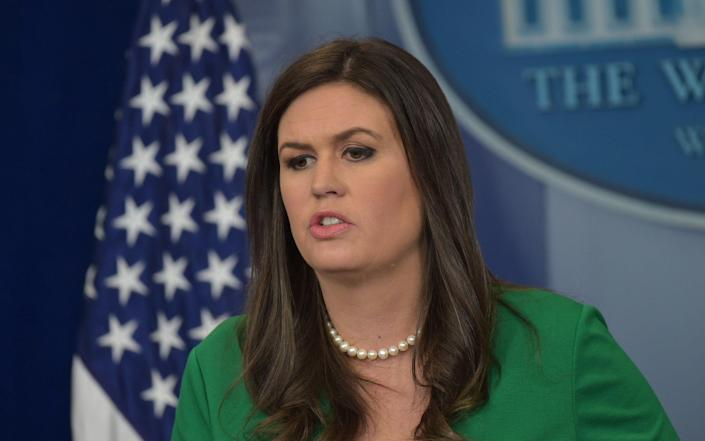 The owner of Red Hen said she asked Donald Trump's spokeswoman, Sarah Sanders (pictured), to leave out of a duty to uphold honesty and compassion - AFP