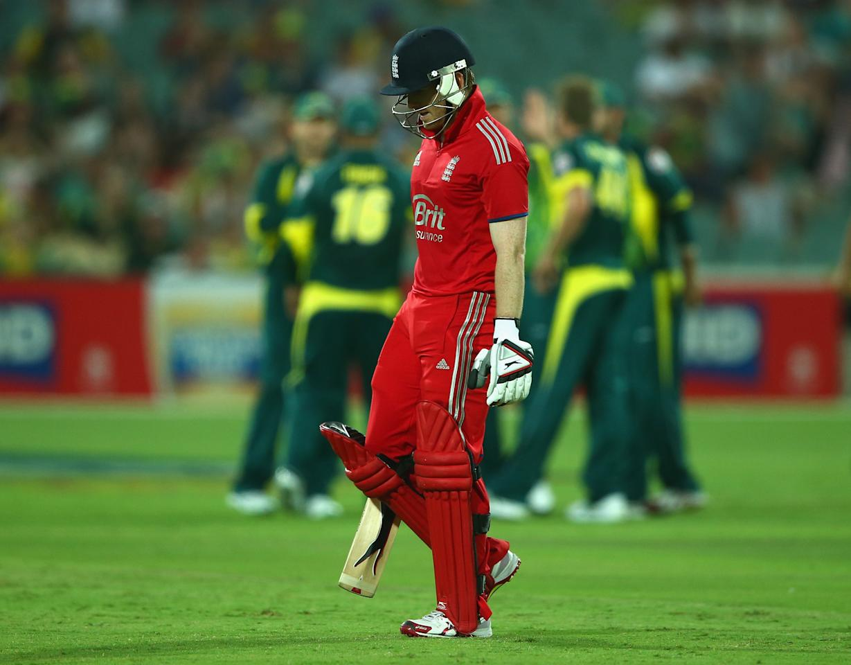 ADELAIDE, AUSTRALIA - JANUARY 26: Eoin Morgan of England walks off the grond after he was dismissed during game five of the One Day International Series between Australia and England at Adelaide Oval on January 26, 2014 in Adelaide, Australia.  (Photo by Robert Cianflone/Getty Images)