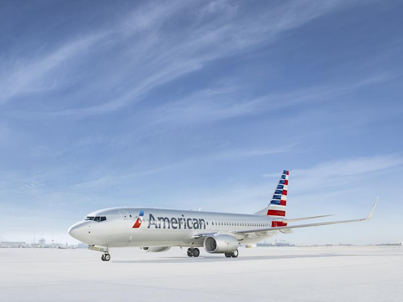 A rendering of an American Airlines jet parked on the tarmac.