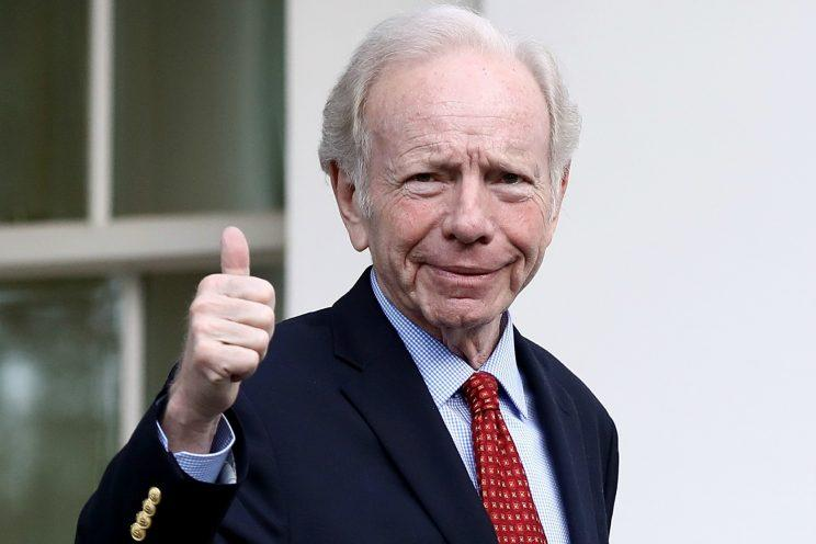 Joe Lieberman leaves the White House after meeting with President Trump on May 18, 2017
