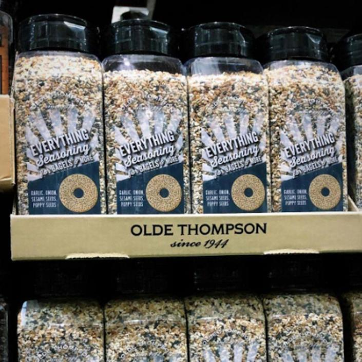 """<p>Like we said, we would love everything bagel seasoning on well... everything. And now you can with this GIANT bottle — check out more about the <a href=""""https://www.bestproducts.com/lifestyle/a26748622/olde-thompson-costco-everything-bagel-seasoning/"""" rel=""""nofollow noopener"""" target=""""_blank"""" data-ylk=""""slk:Olde Thompson container"""" class=""""link rapid-noclick-resp"""">Olde Thompson container</a> here! </p>"""