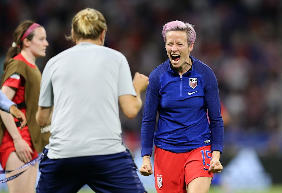 LYON, FRANCE - JULY 02: Megan Rapinoe of the USA celebrates following victory in the 2019 FIFA Women's World Cup France Semi Final match between England and USA at Stade de Lyon on July 02, 2019 in Lyon, France. (Photo by Maddie Meyer - FIFA/FIFA via Getty Images)