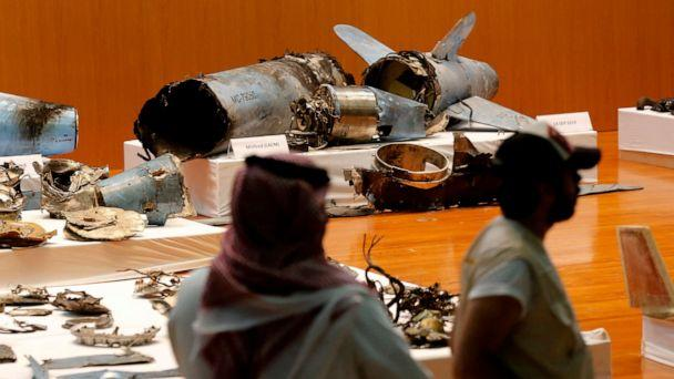 PHOTO: The Saudi military displays what they say are an Iranian cruise missile and drones used in recent attack on its oil industry at Saudi Aramco's facilities in Abqaiq and Khurais, during a press conference in Riyadh, Saudi Arabia, Sept. 18, 2019. (Amr Nabil/AP)