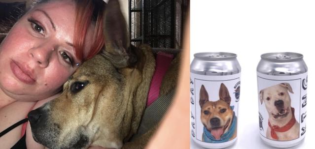 Monica Mathis reunited with her long-lost dog, Hazel, after ± amazingly — seeing her face on a beer campaign that went viral. (Photo: Monica Mathis, Motorworks Brewing)