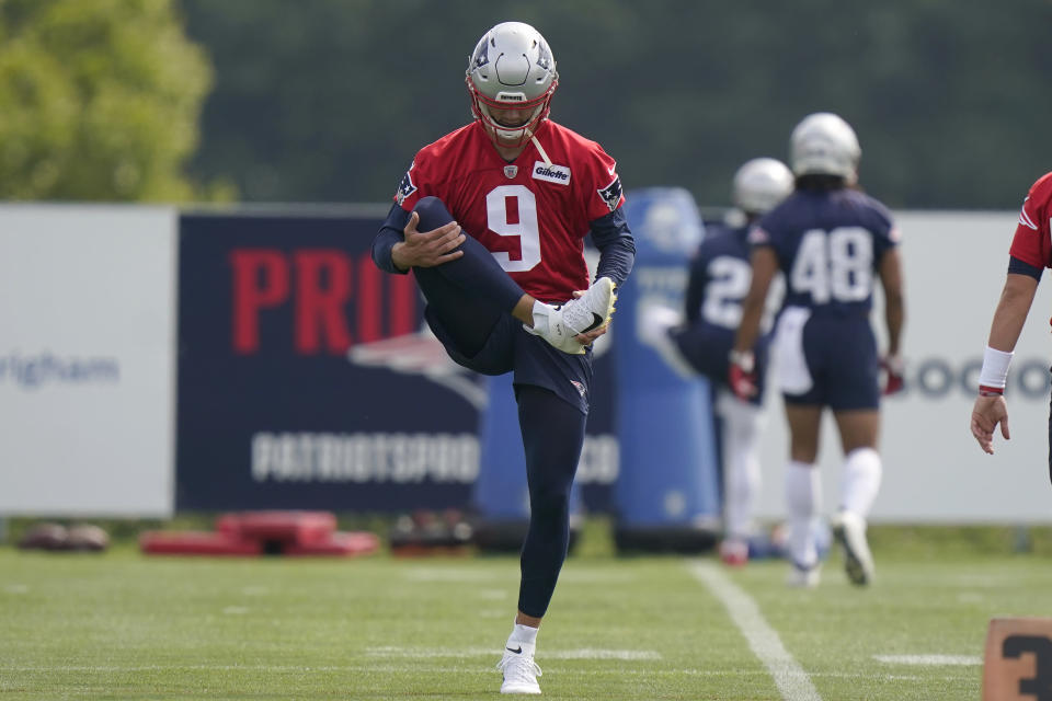 New England Patriots quarterback Jake Dolegala (9) warms up during an NFL football practice, Thursday, July 29, 2021, in Foxborough, Mass. (AP Photo/Steven Senne)