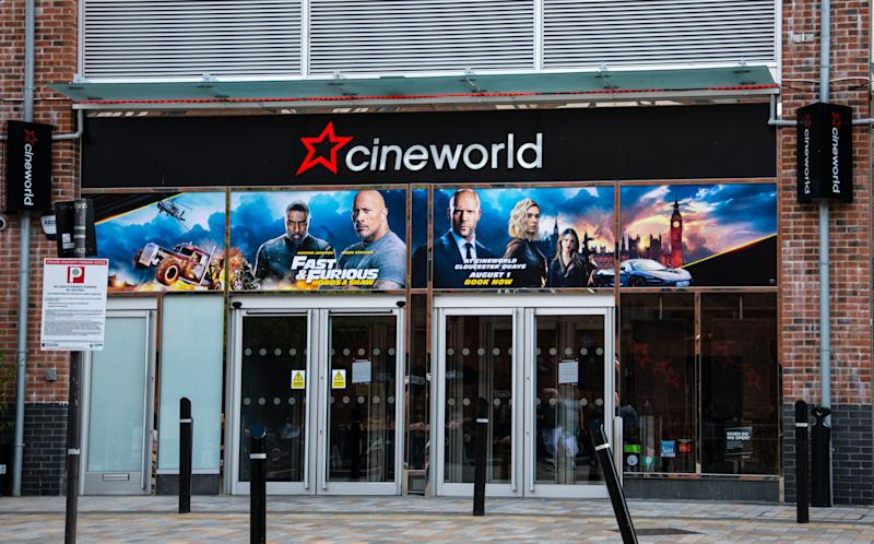 The frontage of the Cineworld Cinema, advertising Fast and Furious, on Merchant's Street in Gloucester. (Credit: Getty)