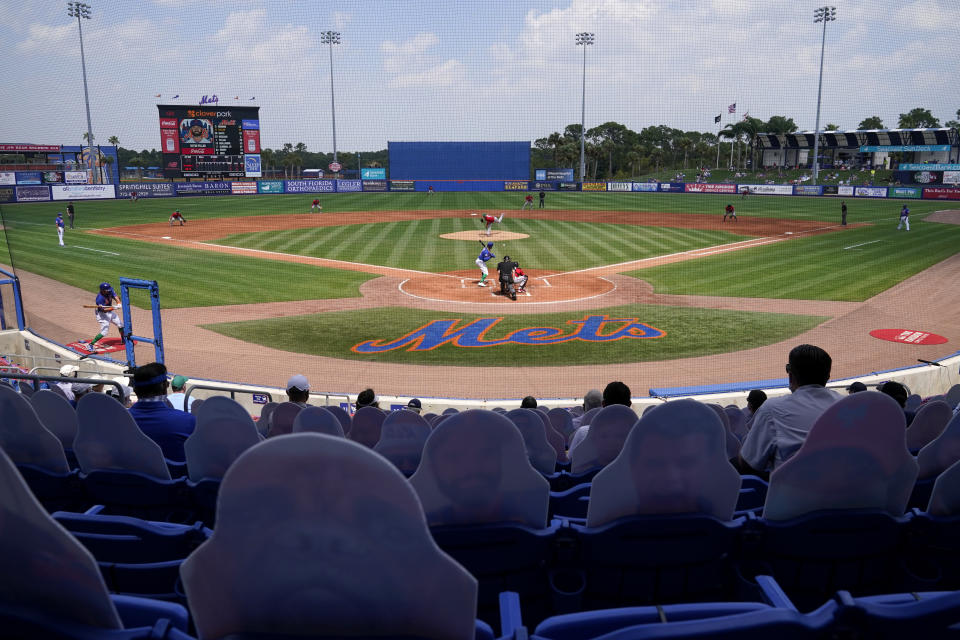 Washington Nationals starting pitcher Jon Lester throws during the first inning of a spring training baseball game against the New York Mets, Thursday, March 18, 2021, in Port St. Lucie, Fla. (AP Photo/Lynne Sladky)