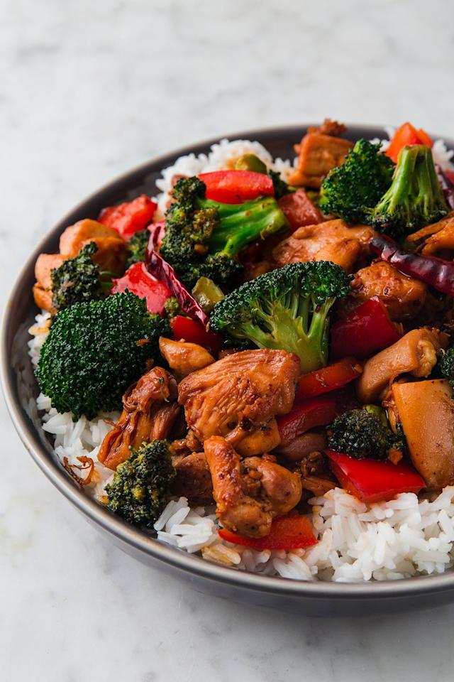 """<p>Chick with a kick. </p><p>Get the recipe from <a rel=""""nofollow"""" href=""""https://www.delish.com/cooking/recipe-ideas/a22108351/hunan-chicken-recipe/"""">Delish</a>. </p>"""