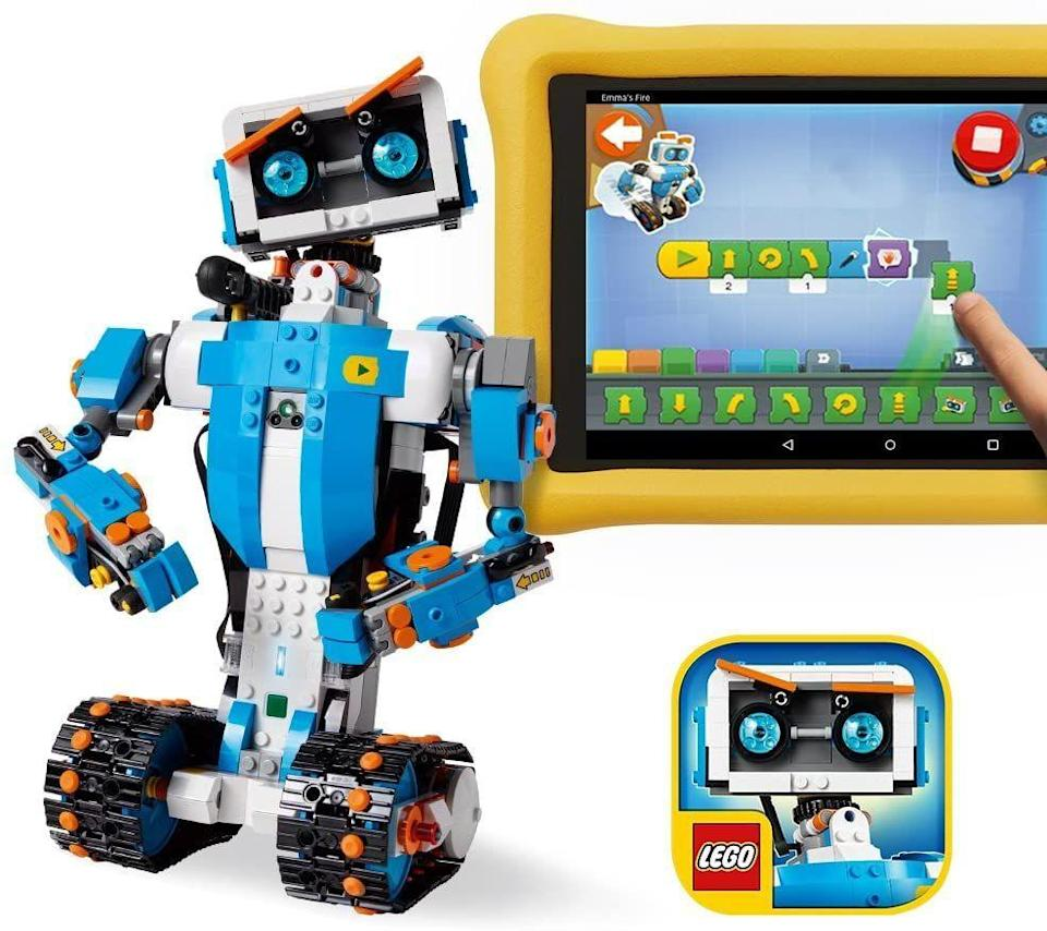 """<p><strong>LEGO</strong></p><p>amazon.com</p><p><strong>$148.00</strong></p><p><a href=""""https://www.amazon.com/dp/B072MK1PDV?tag=syn-yahoo-20&ascsubtag=%5Bartid%7C10055.g.4695%5Bsrc%7Cyahoo-us"""" rel=""""nofollow noopener"""" target=""""_blank"""" data-ylk=""""slk:Shop Now"""" class=""""link rapid-noclick-resp"""">Shop Now</a></p><p>With more than <strong>840 Lego pieces, motors and hubs</strong>, your child can create whatever robot his mind can imagine. </p>"""