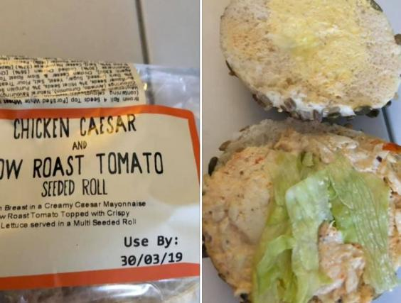 This chicken roll fell below some BA passengers' expectations (Facebook/Jo Henderson-Tchertoff)