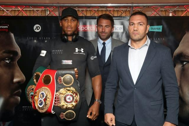 Anthony Joshua, left, was set to take on Kubrat Pulev, right, on June 20 but the coronavirus pandemic led to the bout being postponed (Nick Potts/PA)