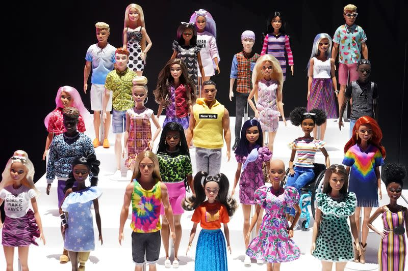 New Barbie dolls from Mattel are pictured in the Manhattan borough of New York City