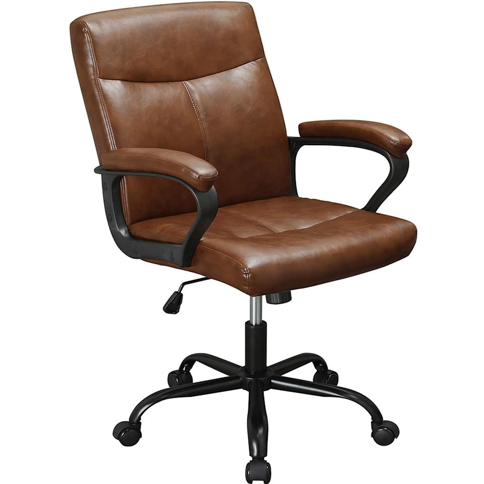 """<h2>DICTAC Vintage Leather Office Chair</h2><br>An old school chair with new school ergonomics. This vintage leather chair offers ample back support and thick high-density sponge padding to help you survive those extra-long workdays. Sit back and relax on its sleek leather exterior and comfy armrests. <br><br><strong>The Hype</strong>: 4.2 out 5 stars and 42 reviews<br><br><strong>WFH Pros Say</strong>: """"The super thick seat is very comfortable, and the shape of the seat cushion is very good and has good support. The size is bigger than a normal chair. This is a high-quality leather office chair. It suits me very well, highly recommended.""""<br><br><em>Shop</em> <strong><em><a href=""""https://amzn.to/3eZsmXN"""" rel=""""nofollow noopener"""" target=""""_blank"""" data-ylk=""""slk:DICTAC"""" class=""""link rapid-noclick-resp"""">DICTAC</a></em></strong><br><br><strong>DICTAC</strong> Vintage Leather Office Chair, $, available at <a href=""""https://amzn.to/3b5ckui"""" rel=""""nofollow noopener"""" target=""""_blank"""" data-ylk=""""slk:Amazon"""" class=""""link rapid-noclick-resp"""">Amazon</a>"""
