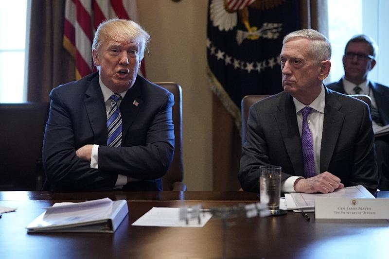 US President Donald Trump and Defense Secretary James Mattis during a cabinet meeting in the White House in March 2018. (AFP Photo/Mandel NGAN)