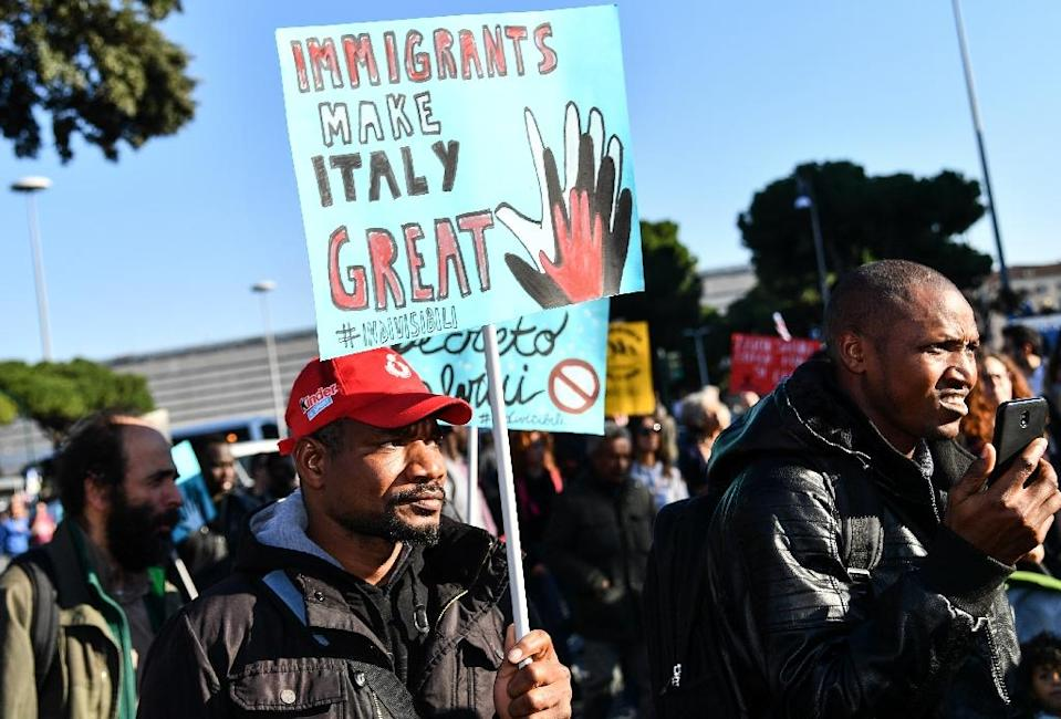 Italy's Senate, in a move backed by Salvini's League party and the anti-establishment Five Star Movement, voted to clear the way for a decree that makes it easier to expel migrants and strip some of them of Italian citizenship (AFP Photo/Alberto PIZZOLI)