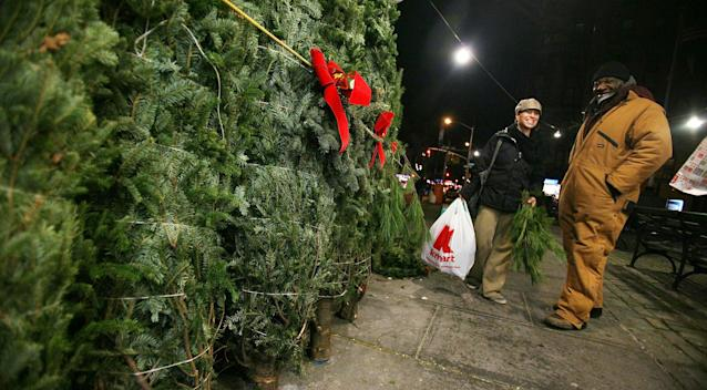 NEW YORK, NY – DECEMBER 17: People gather as Christmas trees are seen for sale December 17, 2010 in the Manhattan borough of New York City. Retailers across the country are hopeful for a rebound in Christmas-related sales as the economy slowly improves. (Photo by Mario Tama/Getty Images)