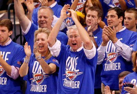 Aubrey McClendon cheers during Game 1 of the NBA finals against the Miami Heat in Oklahoma City, June 12, 2012. REUTERS/Mike Stone
