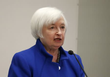 """U.S. Federal Reserve Chair Janet Yellen speaks at """"The Elusive 'Great' Recovery: Causes and Implications for Future Business Cycle Dynamics"""" conference hosted by the Federal Reserve Bank of Boston in Boston, Massachusetts, U.S., October 14, 2016.     REUTERS/Mary Schwalm"""