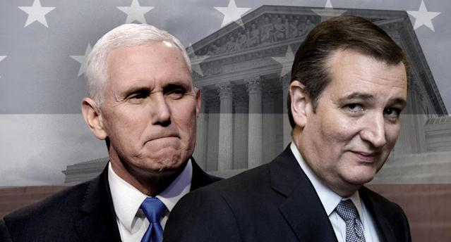 Mike Pence, Ted Cruz. (Photo illustration: Yahoo News; photos: AP, Bill Clark/CQ Roll Call/Getty Images, Zach Gibson/Getty Images, Leah Millis /Reuters)