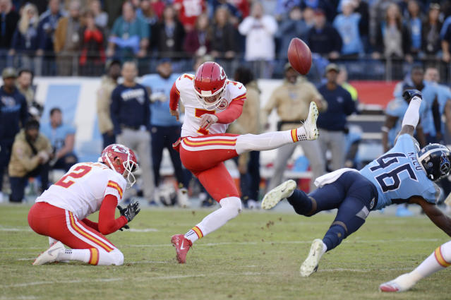 Tennessee Titans defensive back Joshua Kalu (46) blocks a 52-yard field goal attempt by Kansas City Chiefs kicker Harrison Butker (7) on the final play of an NFL football game Sunday, Nov. 10, 2019, in Nashville, Tenn. The Titans won 35-32. (AP Photo/Mark Zaleski)
