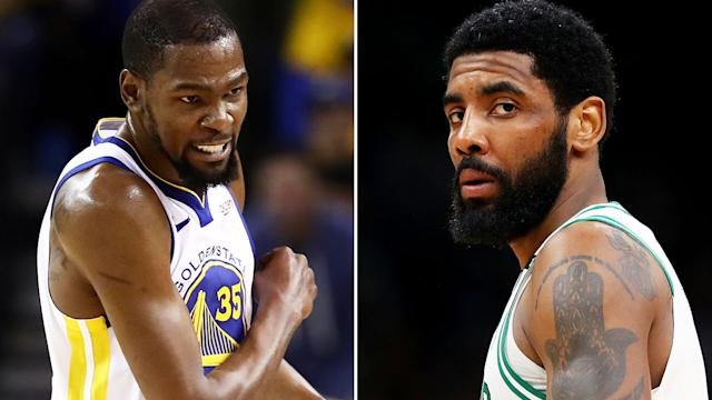 Kevin Durant and Kyrie Irving have been heavily linked to a move to the Brooklyn Nets, after the Nets made a crucial trade to open up cap space. Pictures: Getty Images