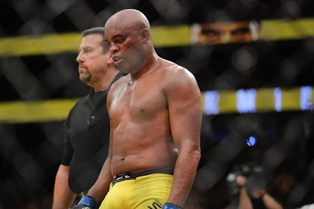 Legendary former UFC middleweight champion Anderson Silva is accused of failing an Oct. 26 anti-doping test, putting his career in jeopardy. (Getty)