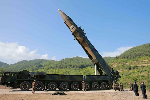 <p>The intercontinental ballistic missile Hwasong-14 is seen in this undated photo released by North Korea's Korean Central News Agency (KCNA) in Pyongyang, July, 4 2017. (Photo: KCNA/via Reuters) </p>