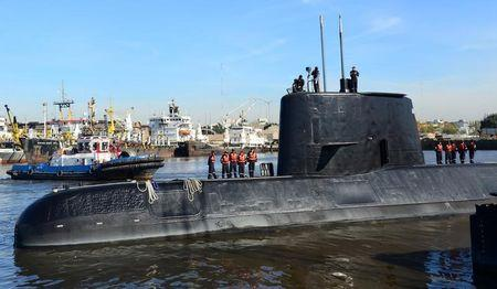The Argentine military submarine ARA San Juan and crew are seen as they leave the port of Buenos Aires, Argentina June 2, 2014. Picture taken on June 2, 2014. Argentine Navy/Handout via REUTERS