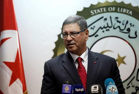 Tunisian Prime Minister Habib Essid delivers a speech during a joint news conference with Prime Minister of Libya's unity government Fayez Seraj (not pictured) in Tripoli, Libya, May 6, 2016. REUTERS/Ismail Zitouny