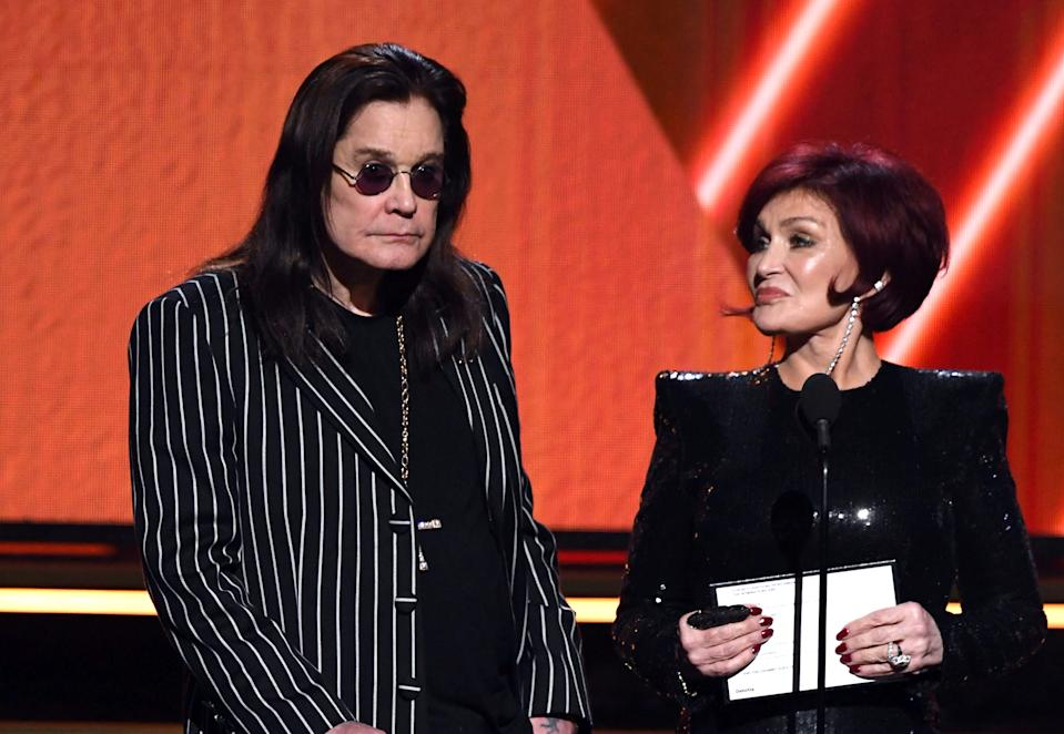 Ozzy Osbourne and Sharon Osbourne speak onstage during the 62nd Annual GRAMMY Awards at STAPLES Center on January 26, 2020 in Los Angeles, California. (Photo by Kevin Winter/Getty Images for The Recording Academy )