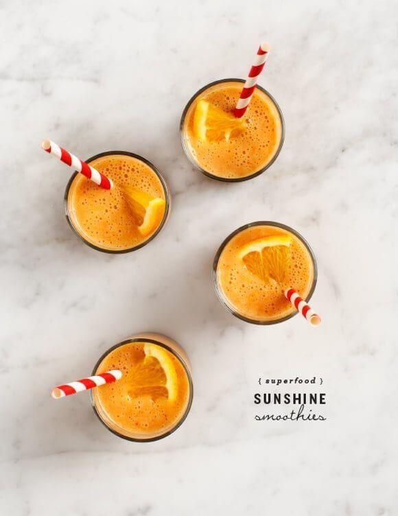 """<p>Yep, this smoothie only requires the following: oranges, goji berries, bananas, almond milk, hemp seeds, ginger. Take it outdoors, and you'll practically feel like you're sitting poolside. </p><p><a class=""""link rapid-noclick-resp"""" href=""""https://www.loveandlemons.com/superfood-sunshine-smoothies/"""" rel=""""nofollow noopener"""" target=""""_blank"""" data-ylk=""""slk:Get the recipe"""">Get the recipe</a></p>"""