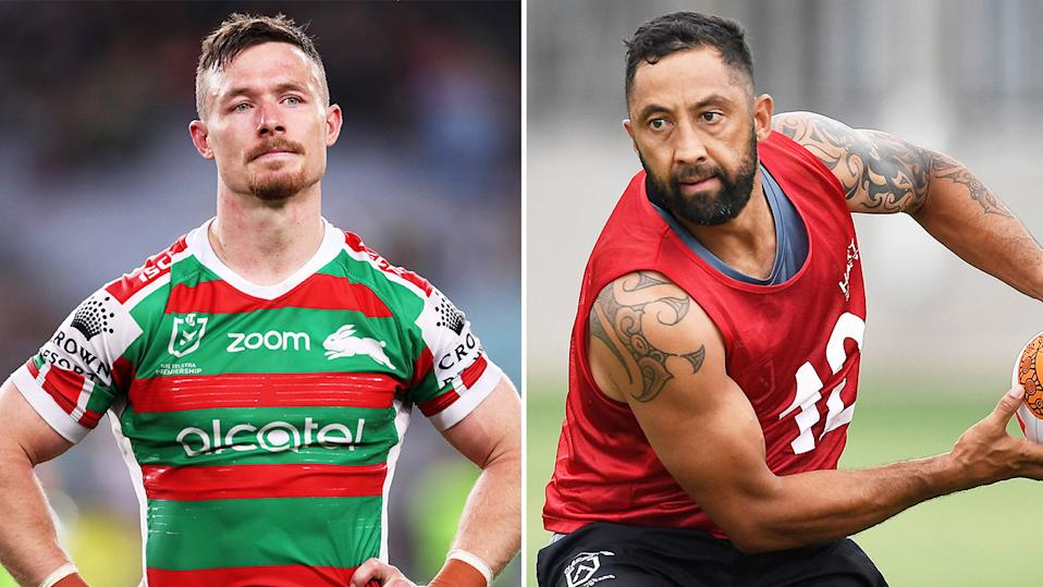 Benji Marshall (pictured right) passing the ball during training and Damien Cook (pictured left) with his hands on his hips.