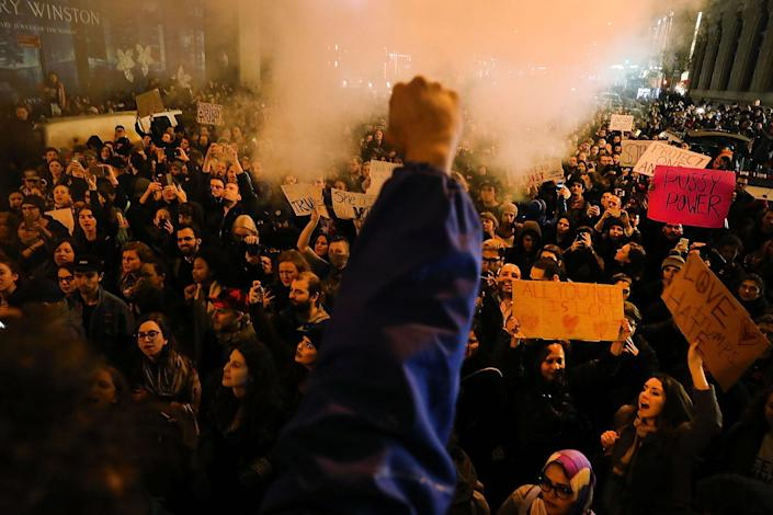 <p>Thousands of anti-Trump protesters shut down 5th Avenue in front of Trump Tower as New Yorkers react to the election of Donald Trump as president of the United States on November 9, 2016 in New York City. Trump defeated Democrat Hillary Clinton in an upset to become the 45th president. (Photo by Spencer Platt/Getty Images) </p>