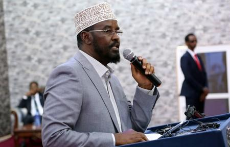 Ahmed Mohamed Madobe, the president of the breakaway Jubbaland region, addresses lawmakers after winning their presidential election, in the southern port town of Kismayu