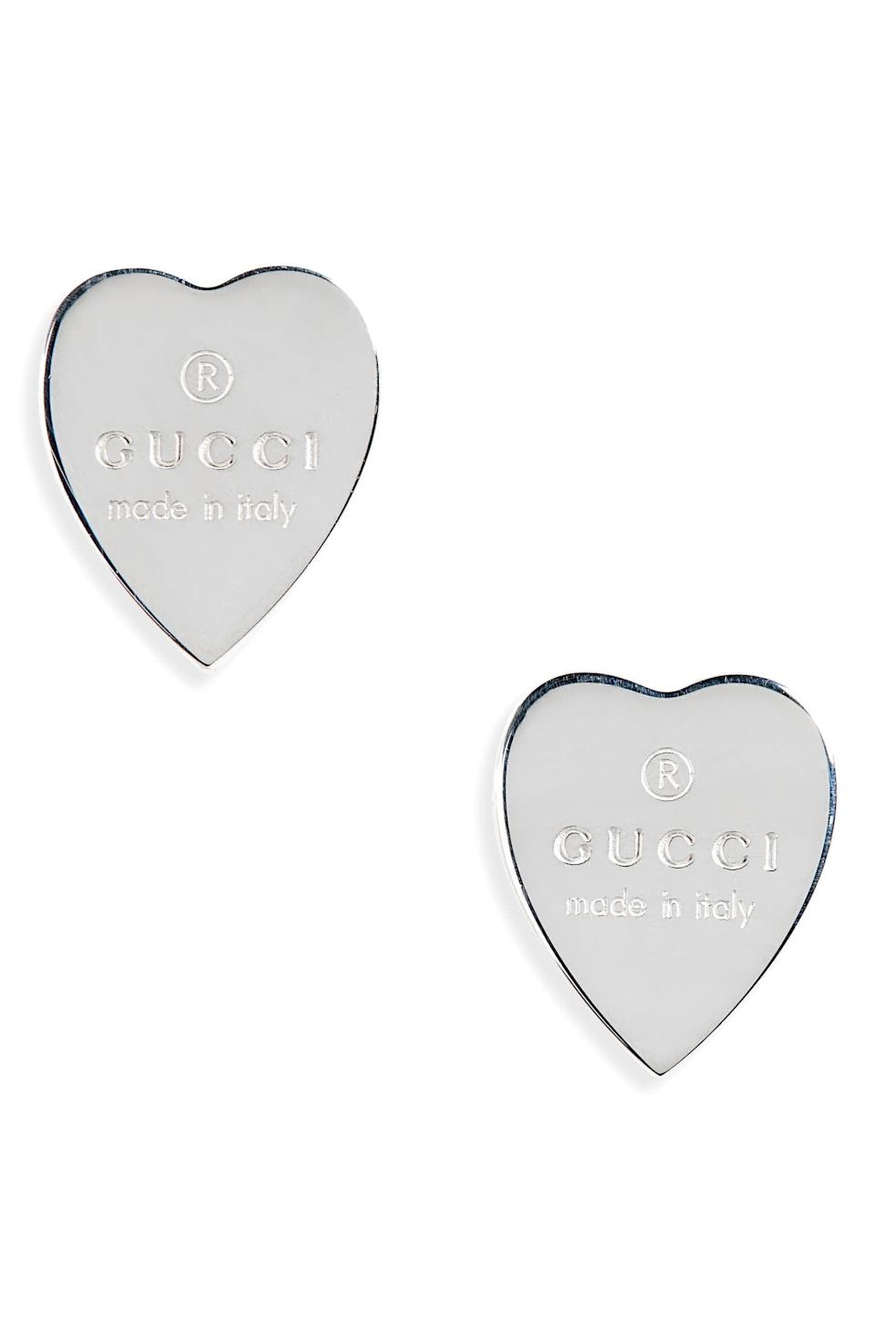 <p>These stunning <span>Gucci Trademark Heart Stud Earrings</span> ($200) will surely make a statement. They're perfect for that someone special.</p>