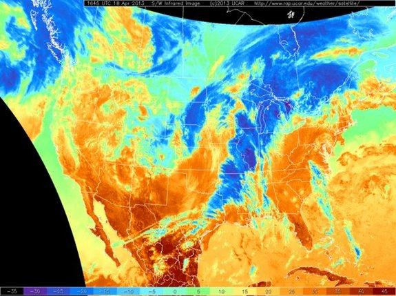This image shows the line of cold air passing through the central U.S.