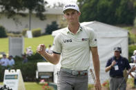 Will Zalatoris pumps his fist after making a birdie on the ninth hole of his second round of the Sanderson Farms Championship golf tournament in Jackson, Miss., Friday, Oct. 1, 2021. (AP Photo/Rogelio V. Solis)