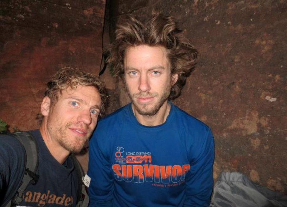 In this July 2012 photo provided by Galit Weiss, climber Gil Weiss, right, and Ben Horne pose for a photo as they climb the Palcaraju Peak in Peru. A search team has reached the base camp and spotted the apparent tracks of the two 29-year-old U.S. mountaineers who have not been heard from since July 11 when they set off to climb the glacier-capped peak in the Cordillera Blanca range of northern Peru. Weiss and Horne are experienced climbers from Boulder, Colorado. (AP Photo/Courtesy of Galit Weiss)